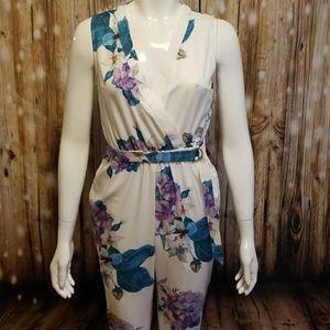 tea & cup floral print white jumpsuit